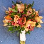 fall colored golden yellow and orange witih wheat wedding flower bouquet