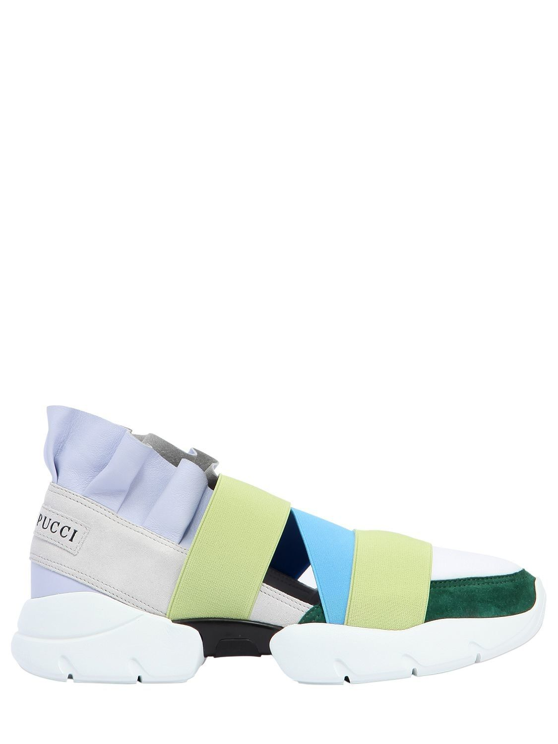 Emilio Pucci 30MM RUFFLED SUEDE & LEATHER SNEAKERS Low Price Fee Shipping For Sale HCFRFts