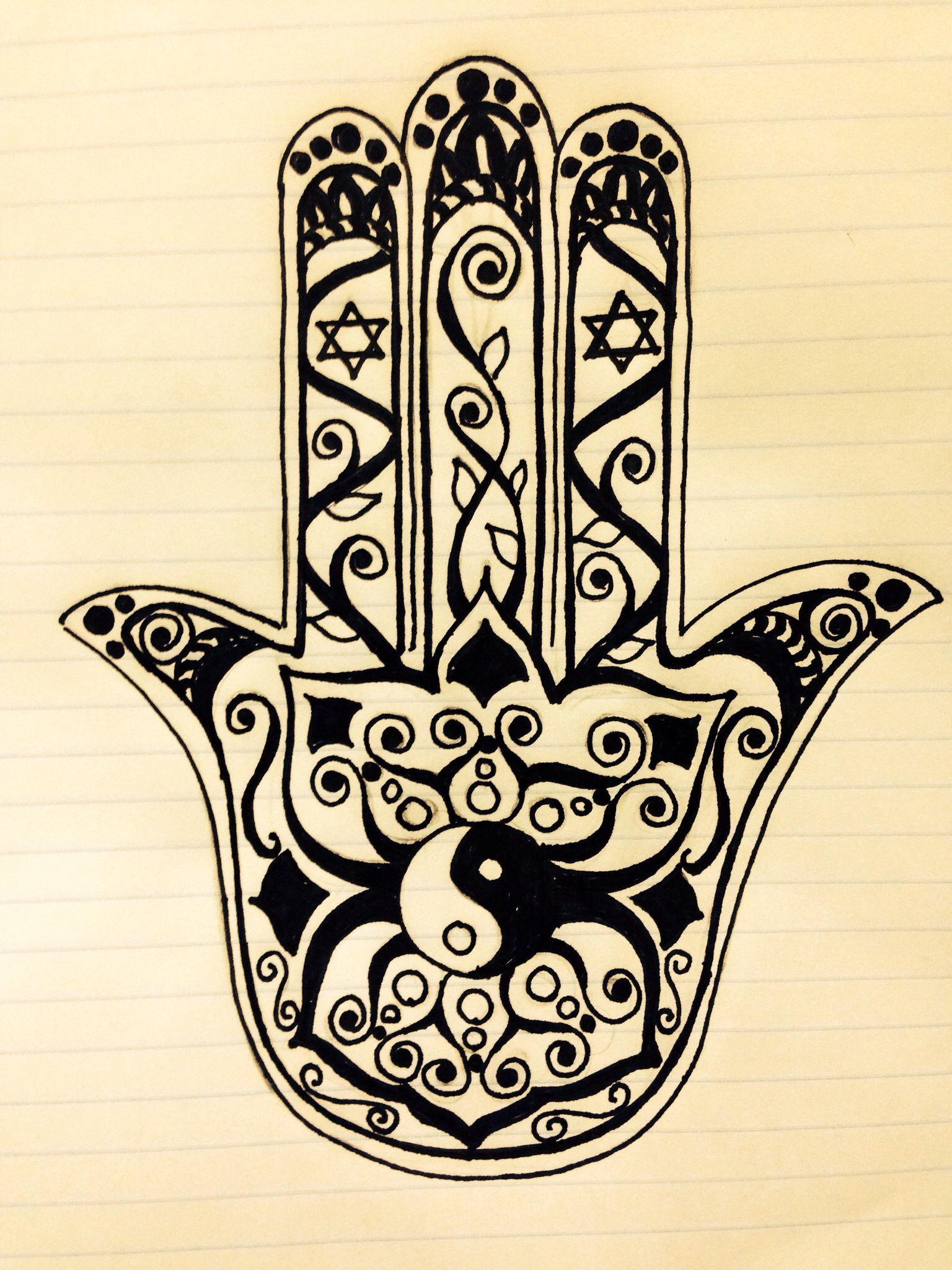 83edc8490 Hamsa tattoo design for a friend with ying-yang and Star of David ...