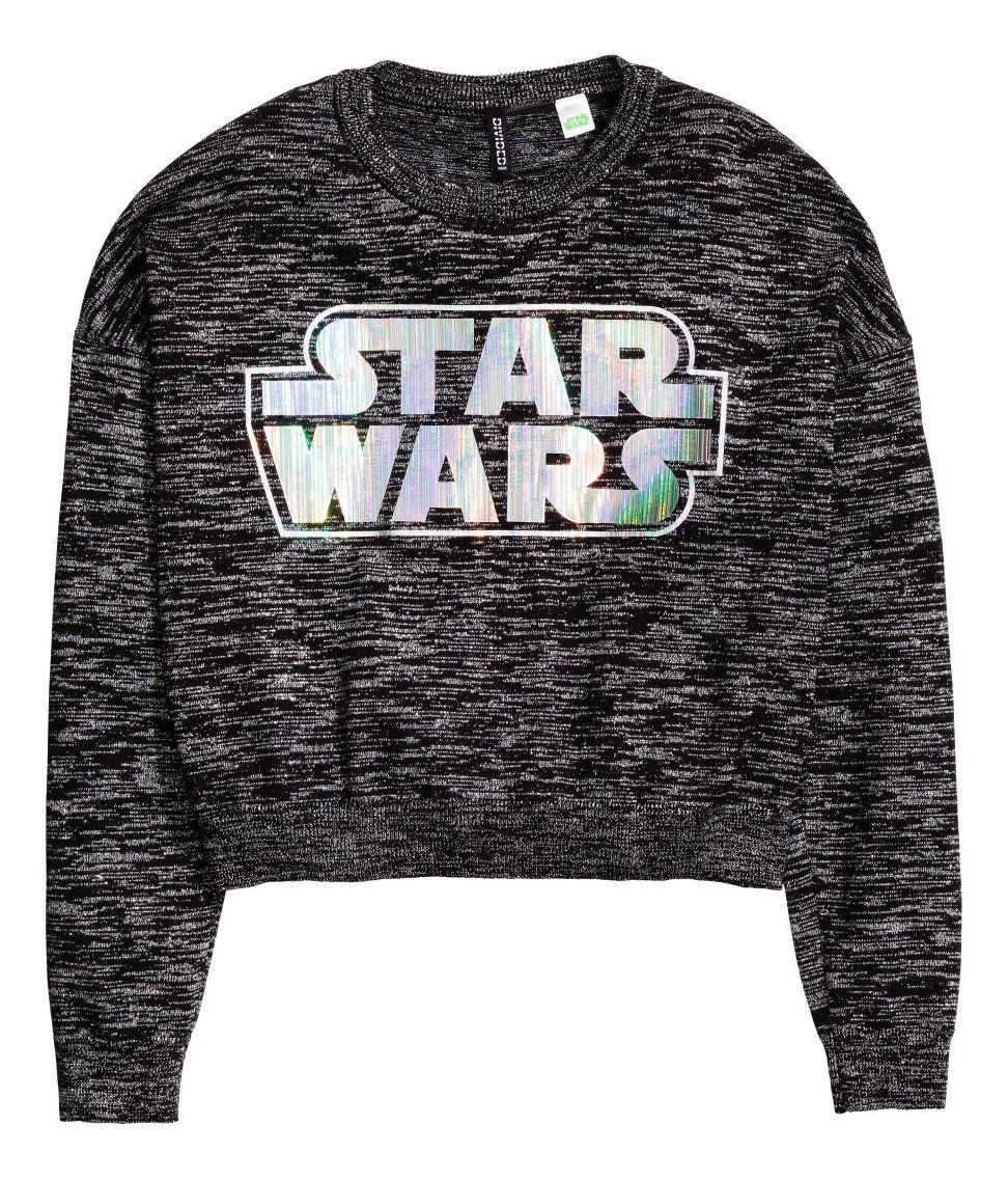 H M Women S Glittery Star Wars Logo Sweater Star Wars Sweater Black Long Sleeve Sweater Sweatshirts [ 1137 x 972 Pixel ]