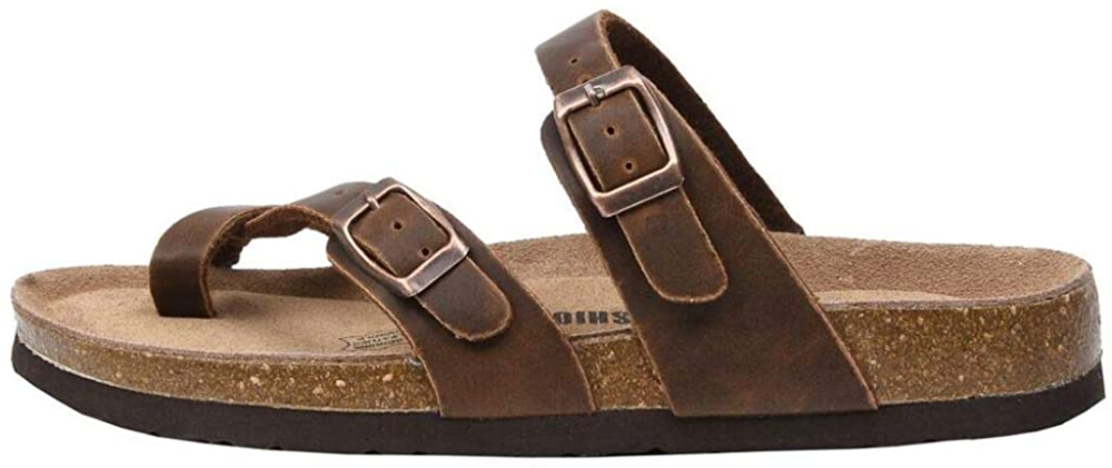 Amazon Com Cushionaire Women S Luna Cork Footbed Sandal With Comfort Slides In 2020 Footbed Sandals Cork Footbed Sandals Sandals