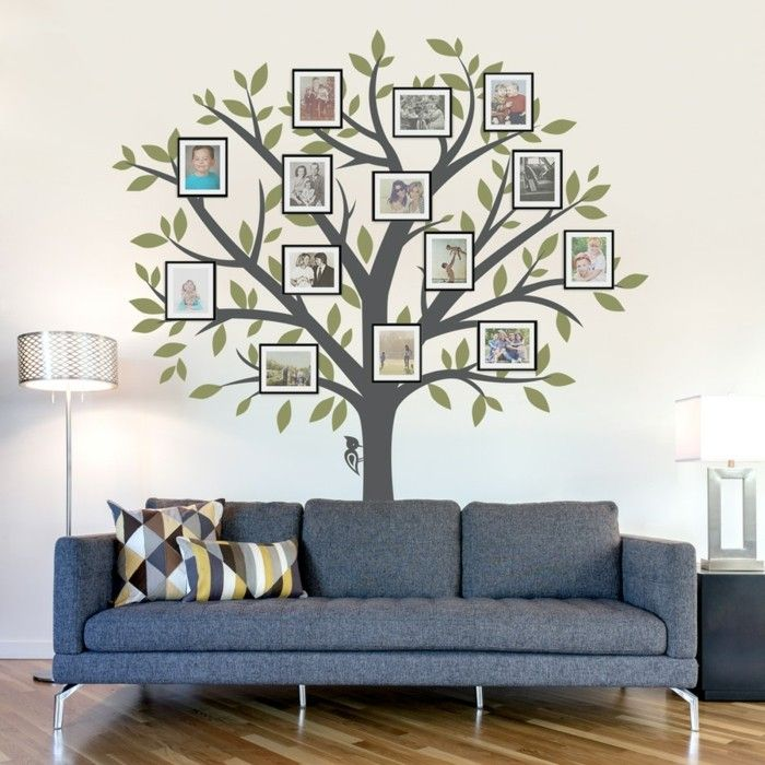 Wanddeko Ideen wandtattoos baum wohnzimmer wanddeko ideen fotos wandgestaltung