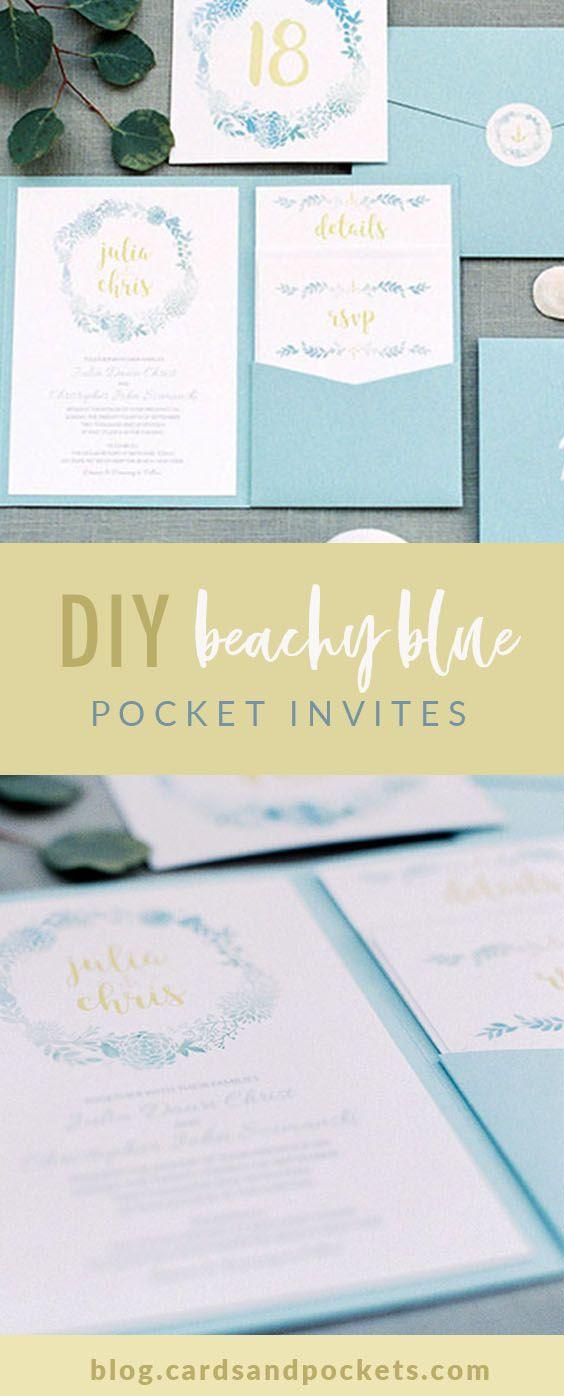 My diy story beach wedding blue pocket invitation pinterest diy