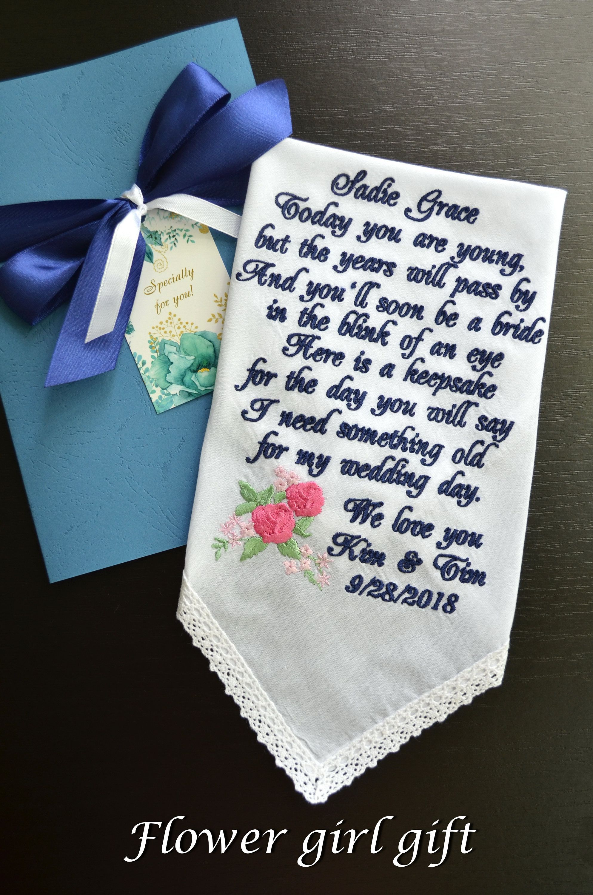 PERSONALISED BRIDESMAID FLOWER GIRL WOMEN HANDKERCHIEF HANKIE WEDDING PRES NEW