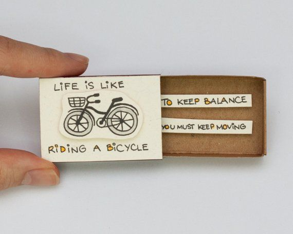 "Fun Inspirational Card ""Life is like riding a bicycle"" Matchbox/ Gift box / Message box/ OT005"