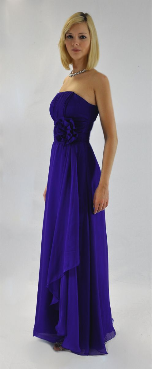 STUNNING BRIDESMAIDS STRAPLESS LONG EVENING POYAL BLUE CHIFFON DRESS ...