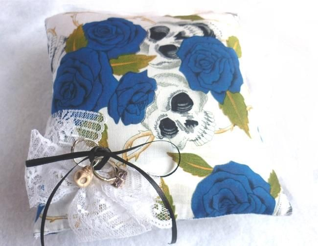 Skulls & Blue Roses Wedding Rings Pillow for sale by La Galerie Macabre at MoreThanHorror.com