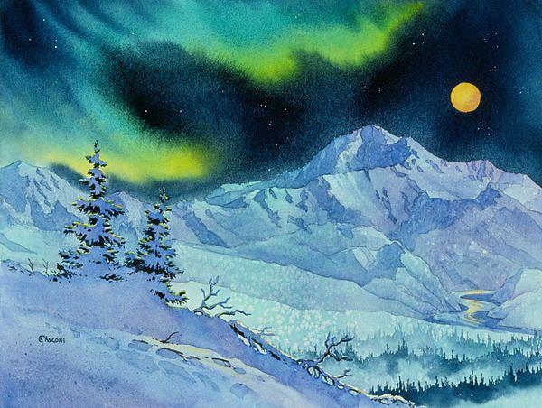 Denali Night By Teresa Ascone Alaskan Artist Night Painting Watercolor Landscape