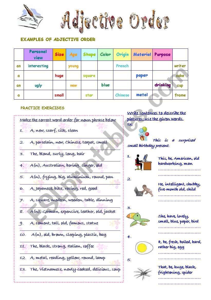 Worksheets Order Of Adjectives Worksheet adjective order worksheet pinterest worksheets worksheet