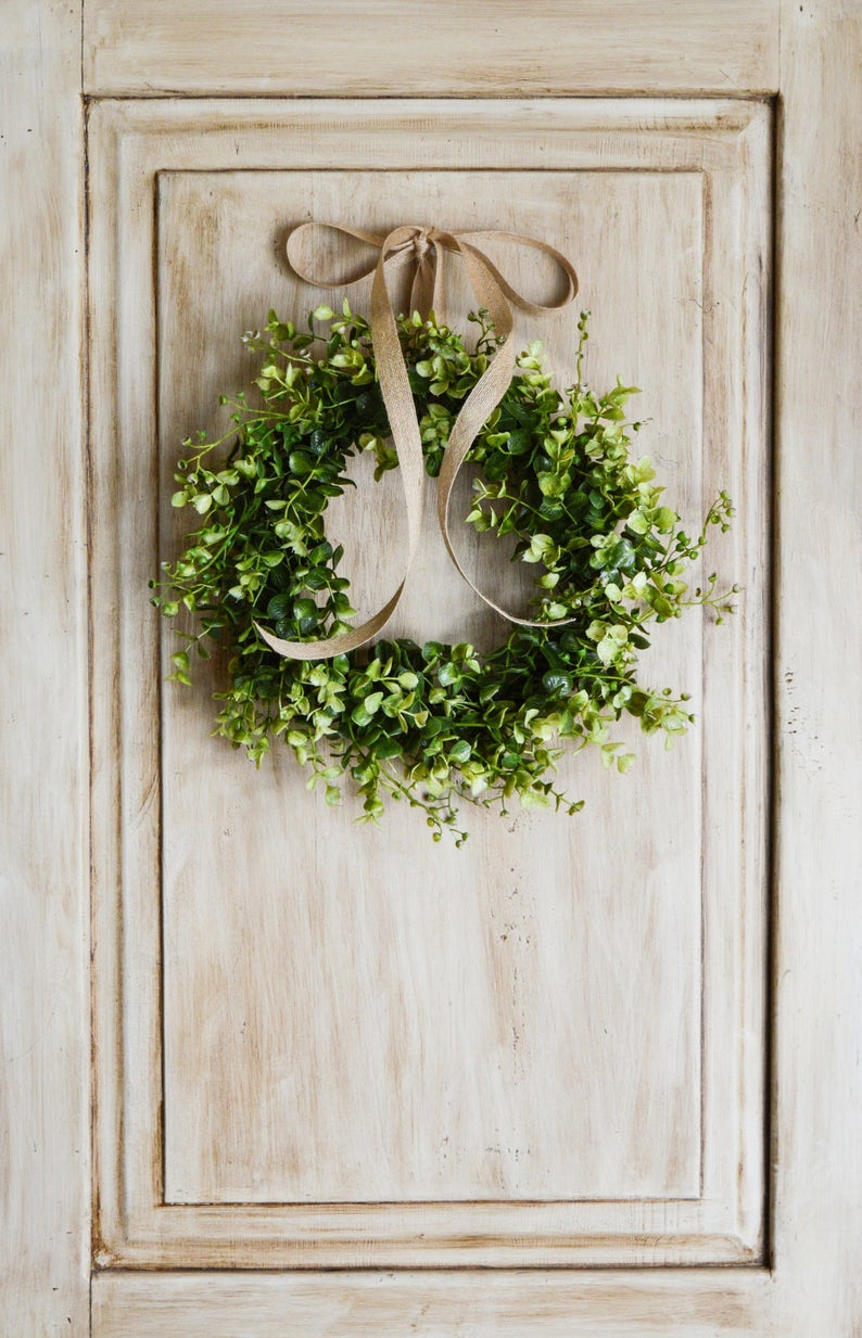 Photo of Mini Eucalyptus Wreath, Small Window Wreath, Farmhouse Wreath, Indoor Wreath