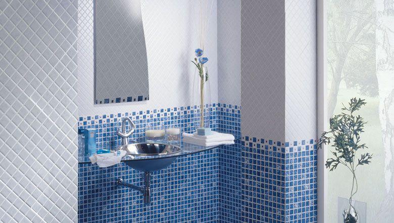 La decoraci n del ba o con azulejos gresite en colores - Baldosas gresite para banos ...