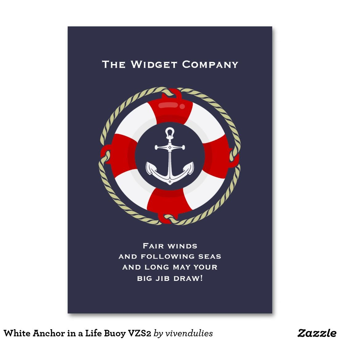 White Anchor in a Life Buoy VZS2 Business Card | Business cards and ...