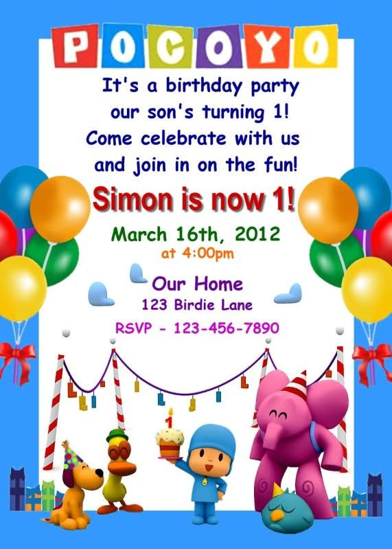 Pocoyo Invitation Decoracion Fiesta Cumpleaños Cumpleaños