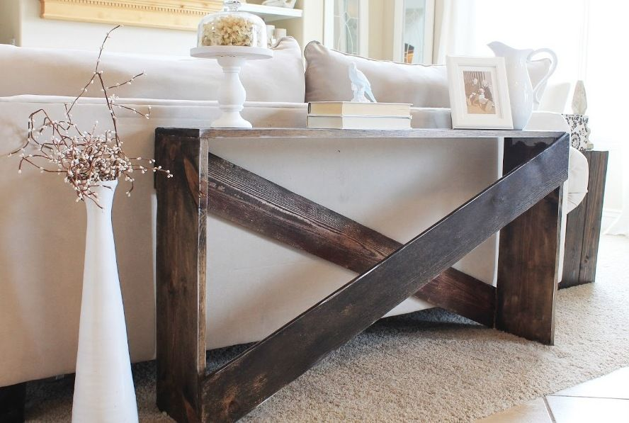 Narrow sofa table behind couch beautiful crisscross wood for Narrow console table behind couch