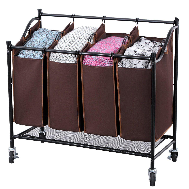 Amazon Com Songmics 4 Bag Rolling Laundry Sorter Cart Heavy Duty