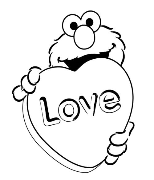 Elmo Love Coloring Page | Likes | Pinterest