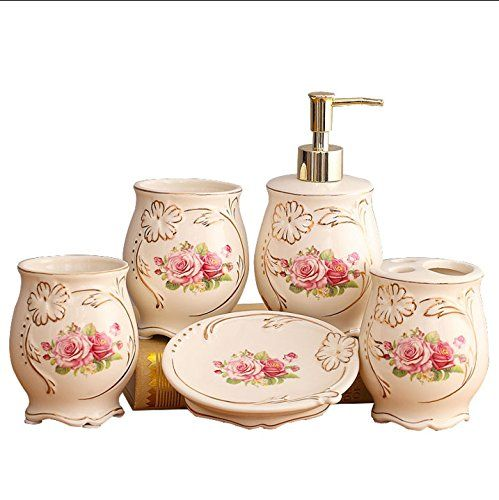 5piece Luxury Pink Rose Ceramic Bathroom Accessory Set With Soap Dish Dispenser Toothbrush Holde Bathroom Accessories Sets Bathroom Accessories Cute Room Decor