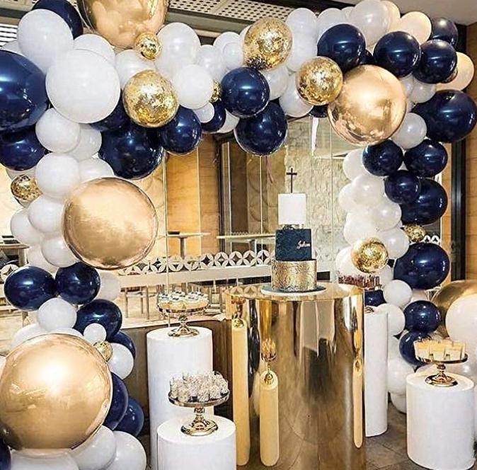 Blue Gold Chrome Confetti White 50 Pieces 10 99 Black And Gold Party Decorations Gold Party Decorations Blue Party Decorations