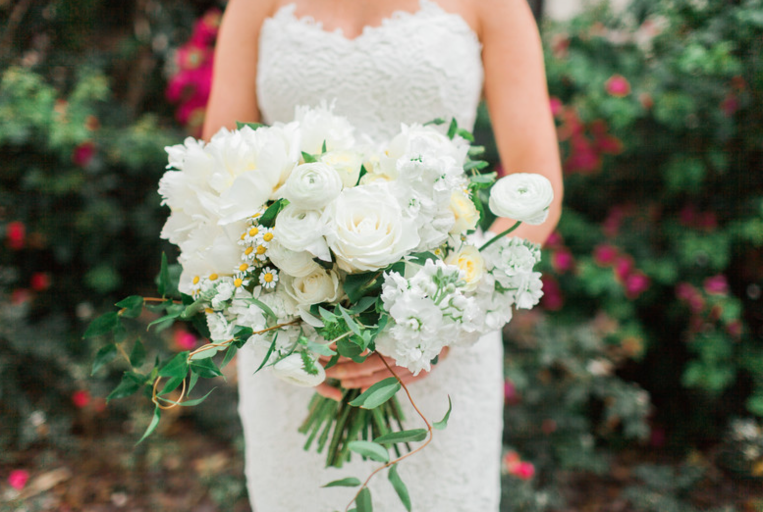 Loose Bridal Bouquet Of White Peonies White Stock White Roses Cream Roses White Lisianthus White Ran White Ranunculus Floral Wedding Cream Roses