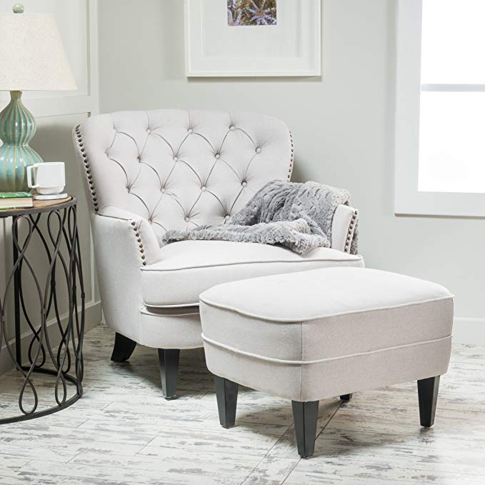 Alfred Tufted Fabric Club Chair with Ottoman