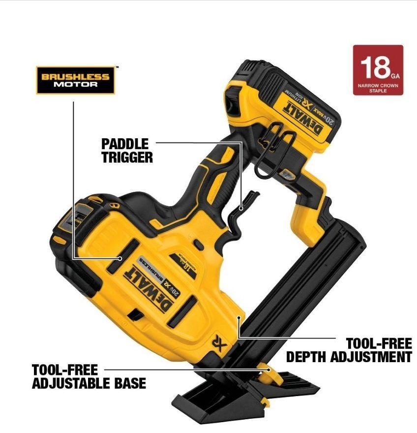 The Dewalt Dcn682 18 Gauge Flooring Stapler Drives 18 Gauge 1 4 In
