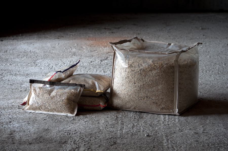 Wood pillow by Reverse - sawdust from our workshop, #reused materials for #ecodesign