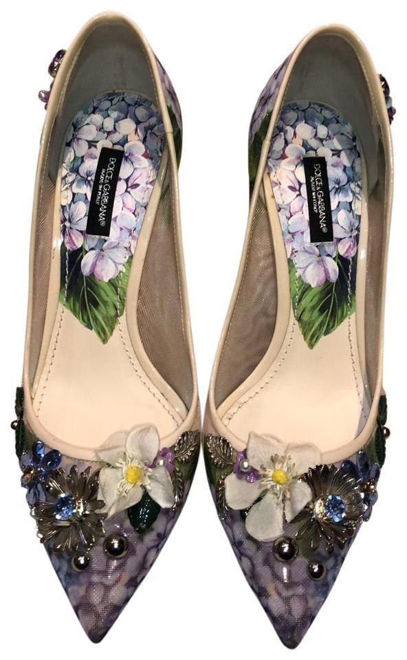 Dolce and Gabbana | Cream Floral Embellished Heels