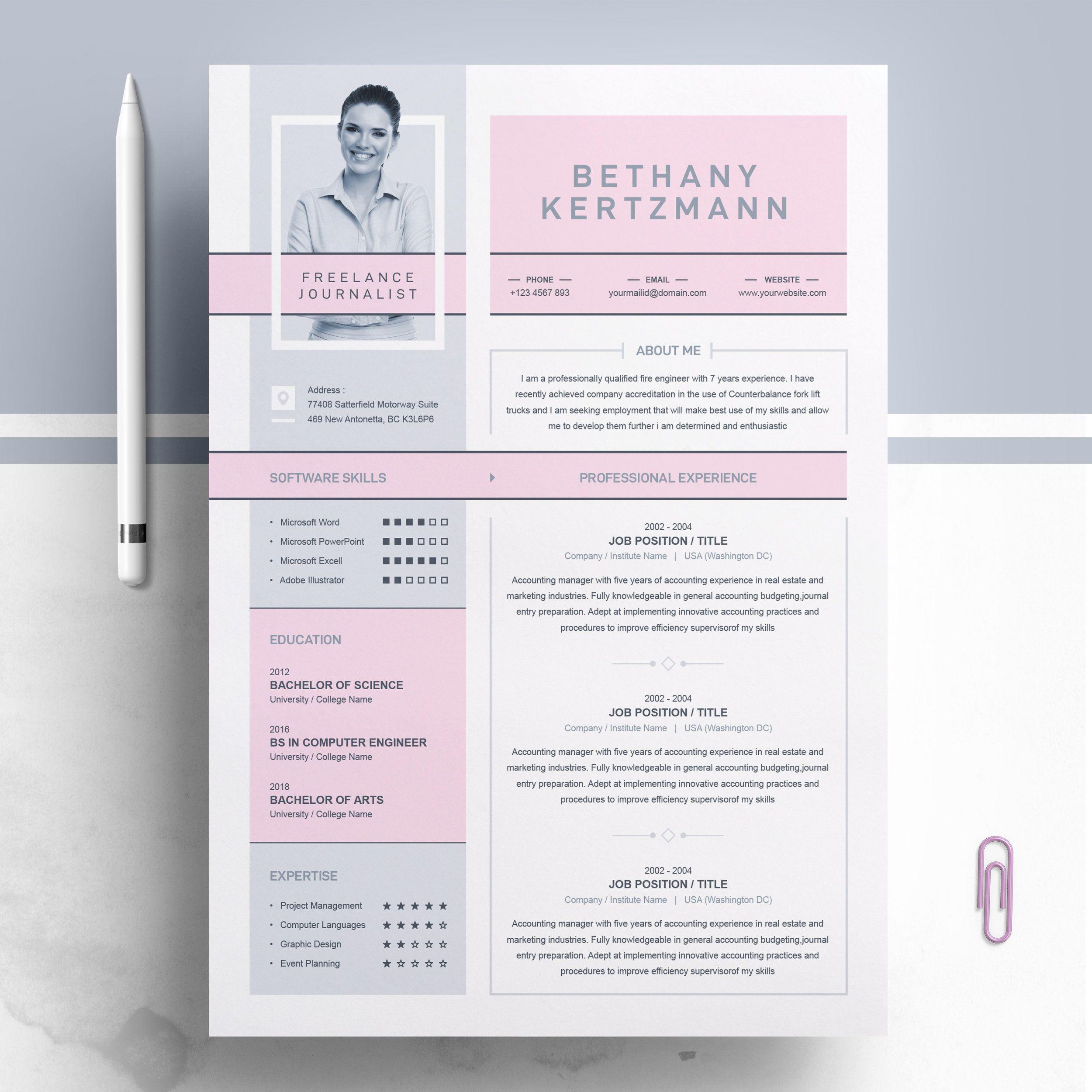 Creative and Modern Resume CV Design Template Curriculum