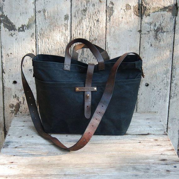 ed56e87bb556 Waxed Canvas Tote Bag Canvas Fabric Crossbody Bag Diaper Bag Leather ...