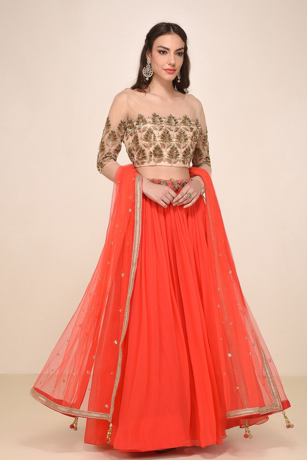 Rent your wedding dress  Rent HOUSE OF OMBRE  Embroidered Beige Blouse With Orange Lehenga