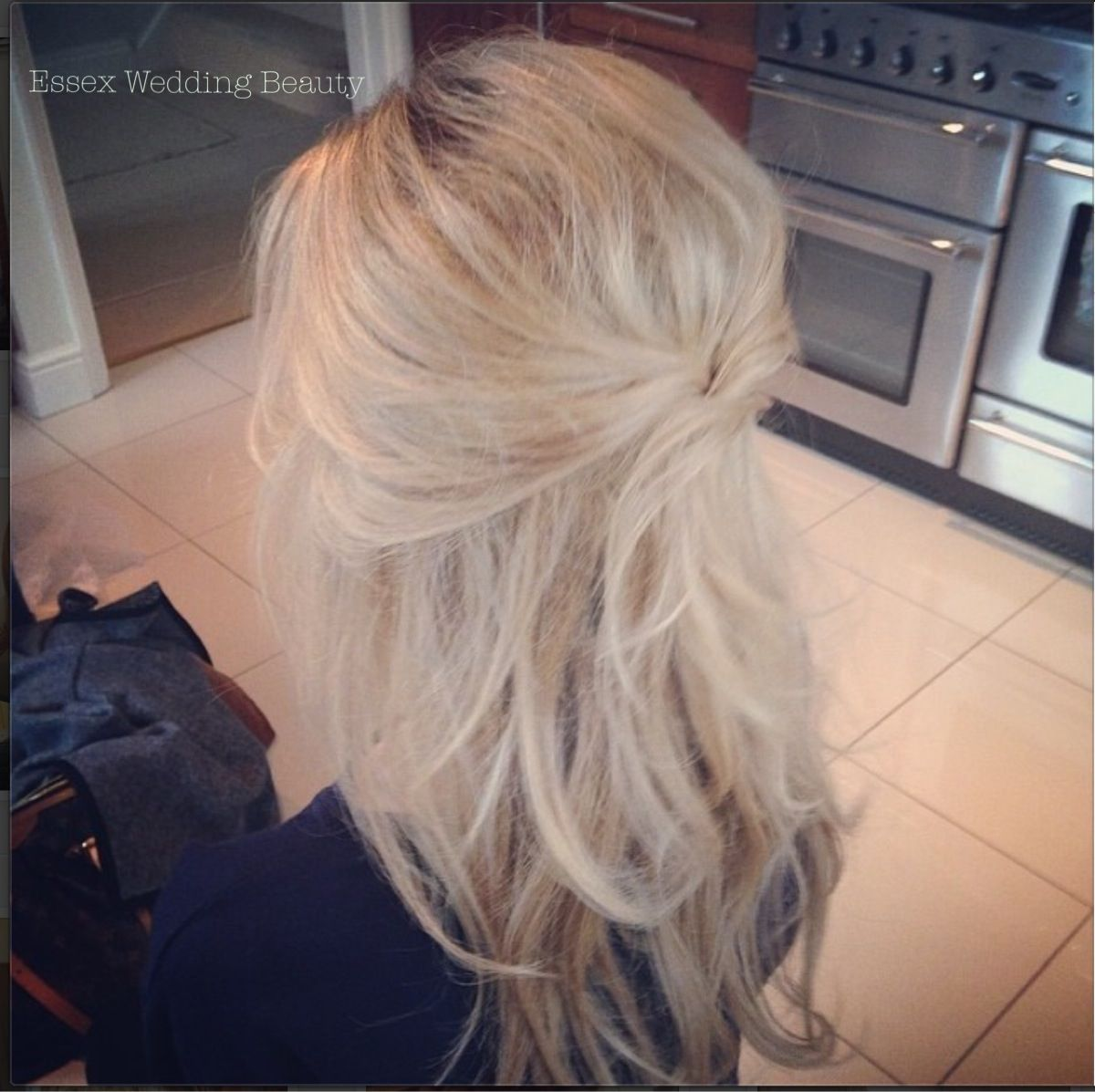 Wedding Hair Bride Half Up Half Down Blonde Long Hair Loose