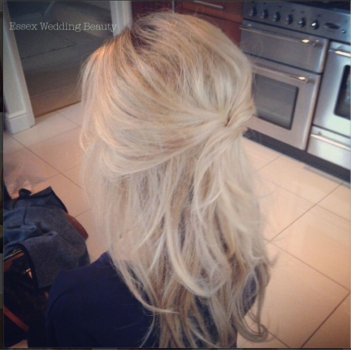 wedding hair, bride, half up half down, blonde long hair