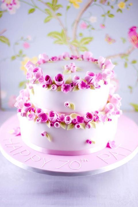 Beautiful Tiny Flowers 70th Birthday Cake Birthday Cakes