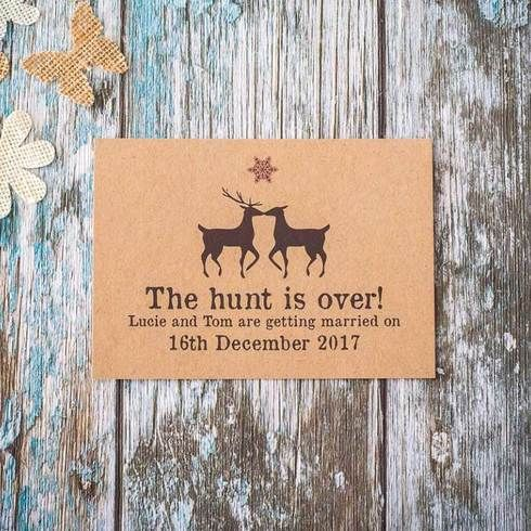 Fun, unique Christmas wedding Save the Dates, £100 each Click to