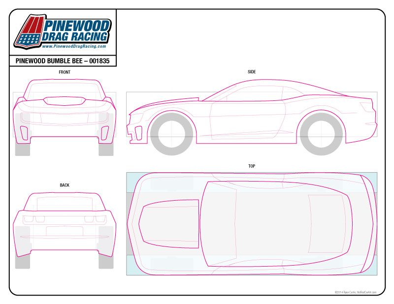 Template for a Transformers Bumblebee 2014 Camaro Pinewood Derby ...