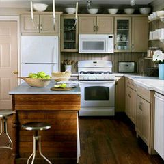 Tan Painted Cabinets With White Appliances Eclectic Fixtures