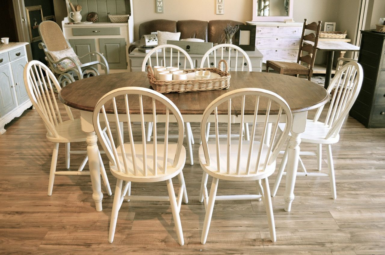 Oval Farmhouse Dining Set 6 Chairs With Images Farmhouse