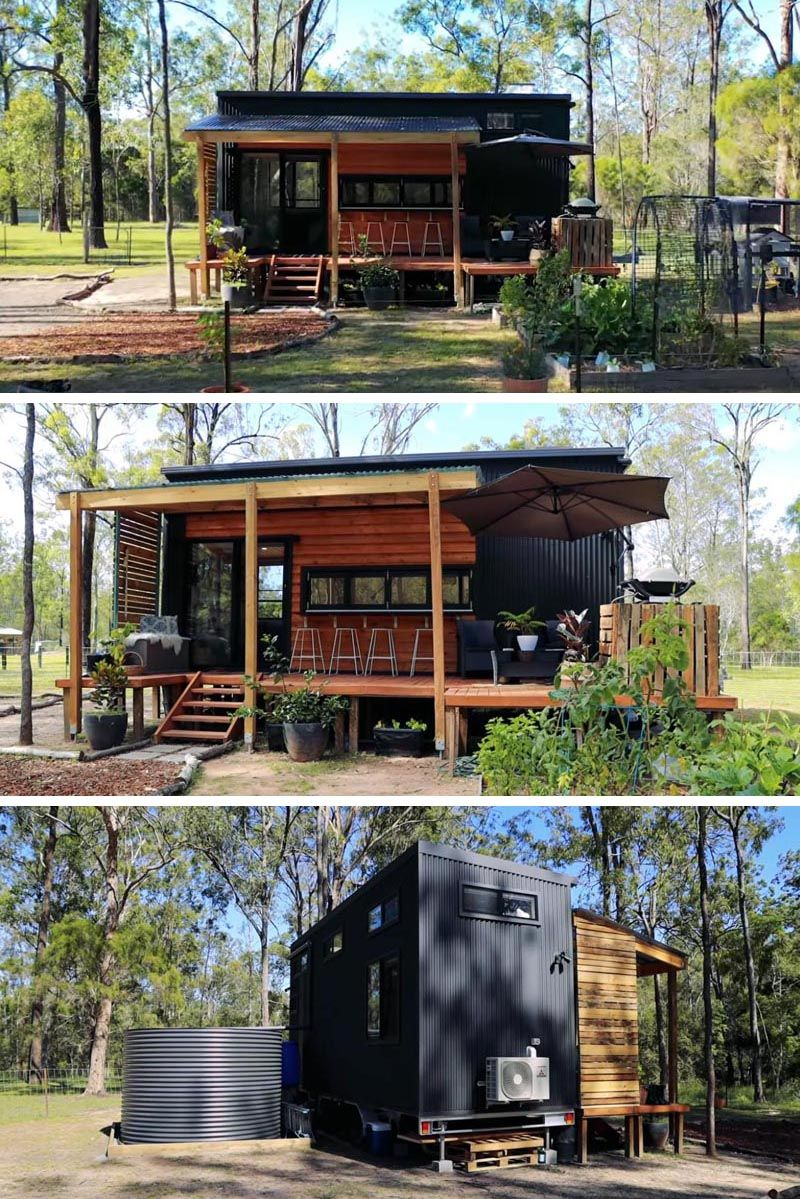 The Interior Of This Tiny House Manages To Fit Two Lofted Bedrooms In 2020 Tiny House Exterior Modern Tiny House Corrugated Metal Siding