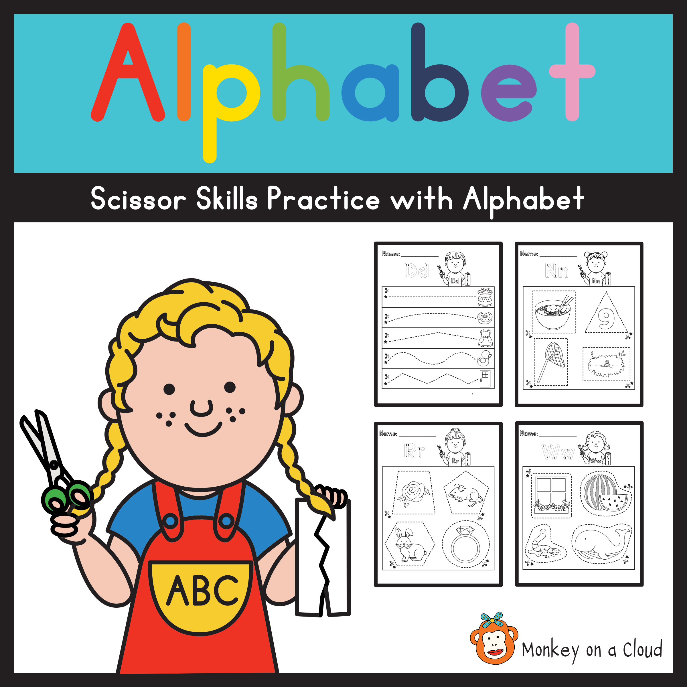 Scissor Skills Practice With Alphabet In