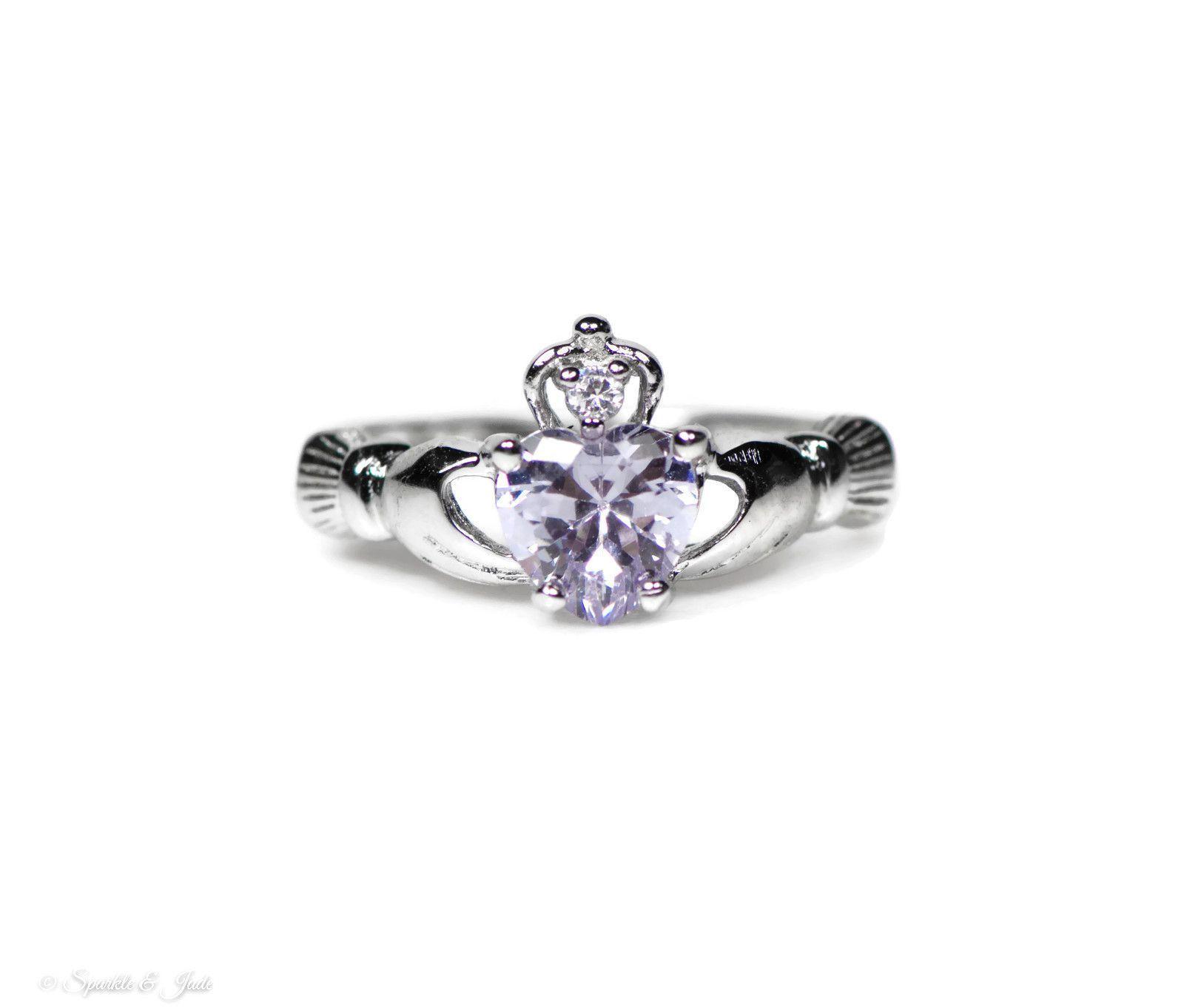 Sterling Silver & Moonstone June Birthstone Claddagh Ring Sizes I - U awuVjPq
