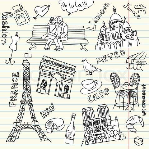 Stock vector of 'love in paris doodles'