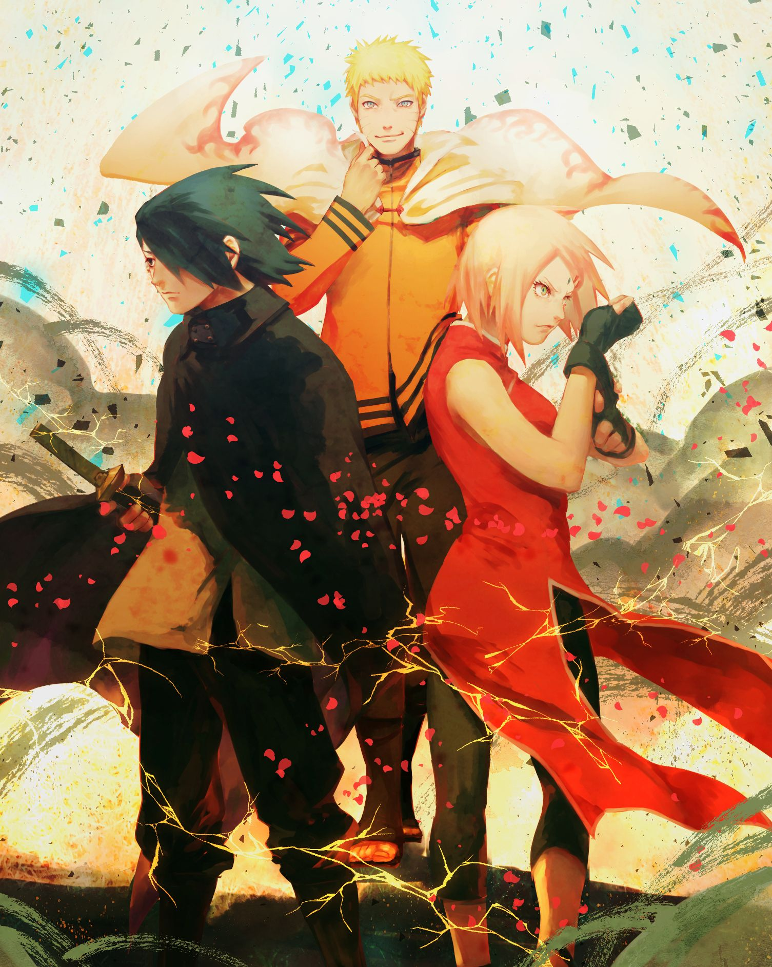 Anime manga Naruto Naruto, Sasuke, Sakura art