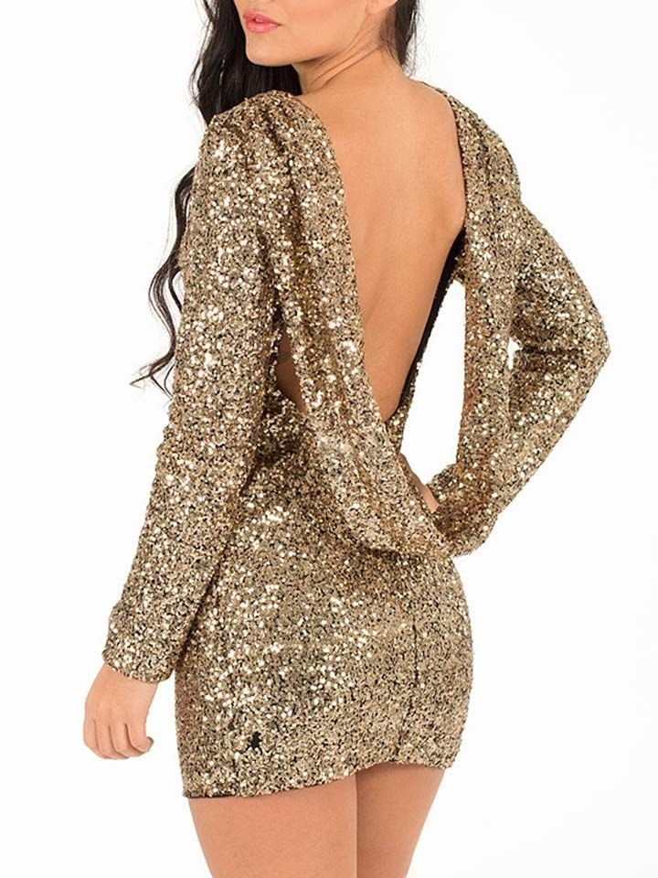 Luxurious Golden Sequin Backless Party Dress Choies
