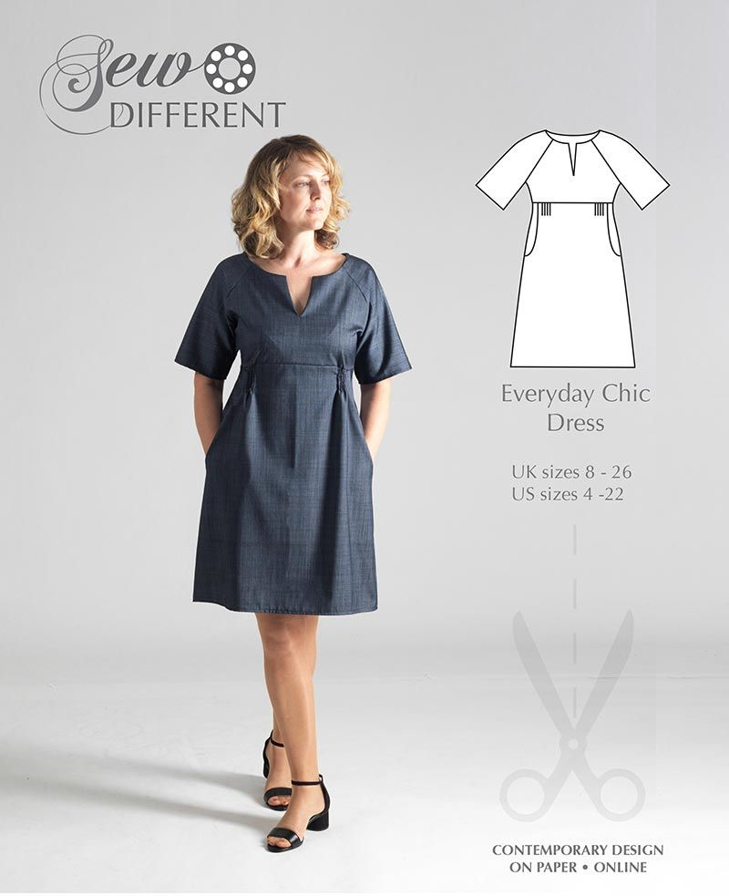 Everyday Chic Dress - MULTISIZE SEWING PATTERN - Sew Different ...