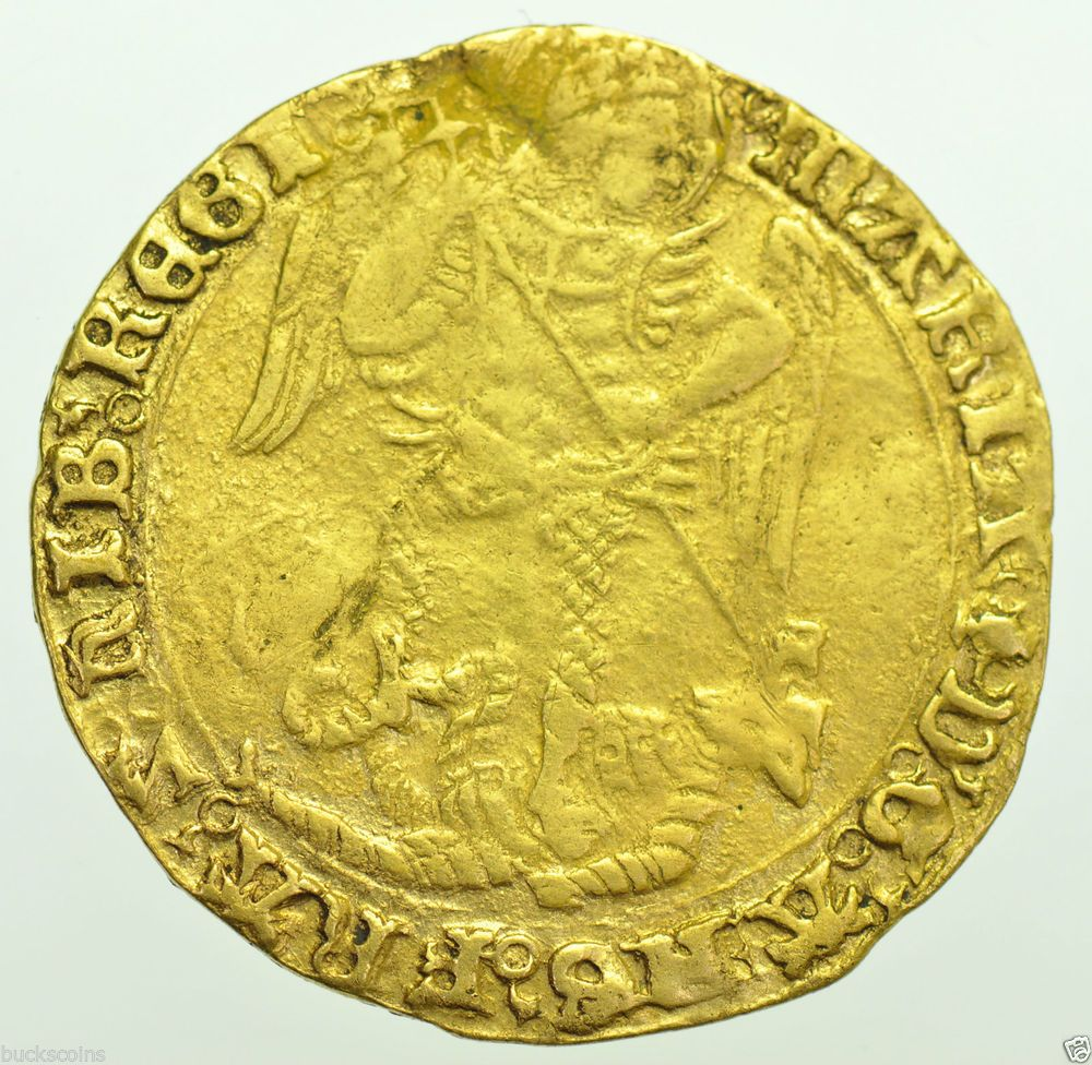 VERY RARE MARY ANGEL CLASS I [1553-4] mm.POMEGRANATE BRITISH GOLD HAMMERED COIN