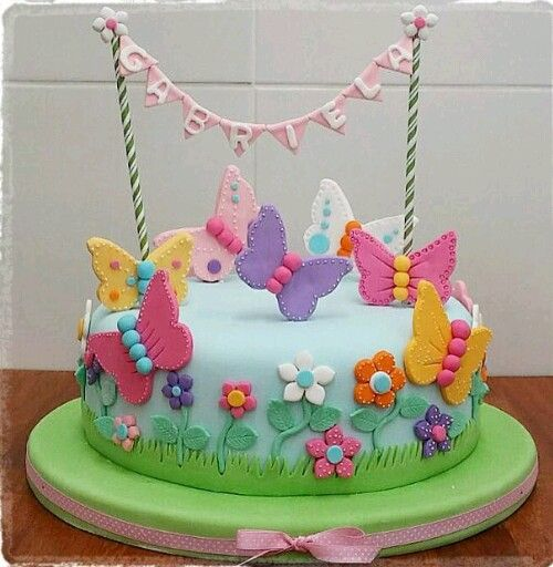 Cake Bday Birthday Girl Butterfly Flowers Cakes Paste