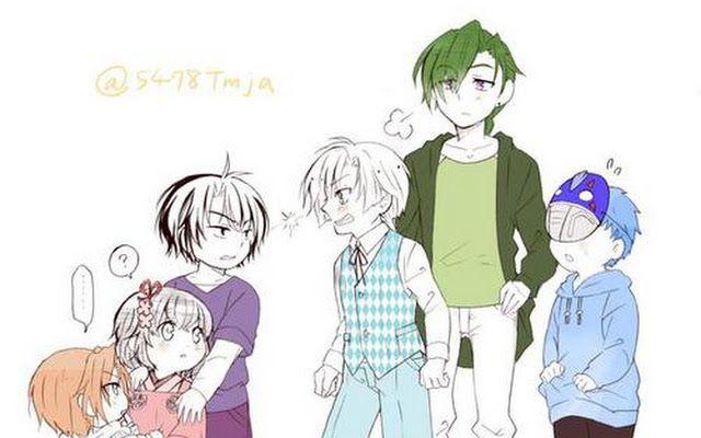 modern child version Akatsuki no Yona/ Yona of the Dawn- Jae-ha babysitting Yoon, Yona, Hak, Kija and Shin-ah