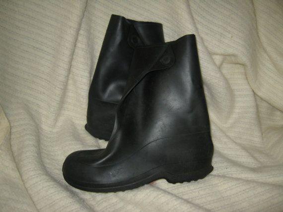 vintage  mens vinyl rubber Overshoes  BOOTS by Linsvintageboutique, $24.50