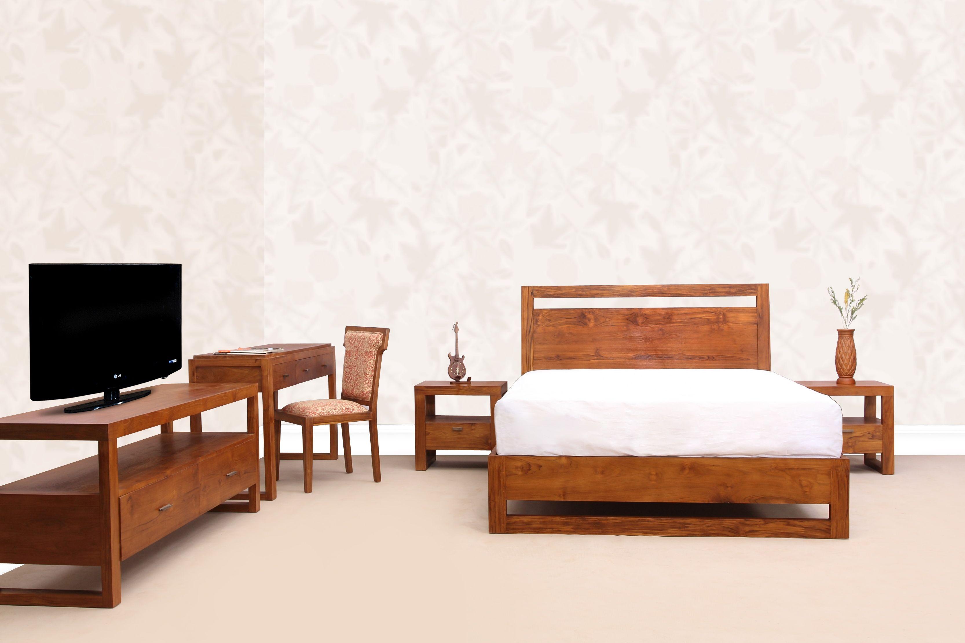 Solid teak wood bedroom set made of Indonesian plantation teak wood ...