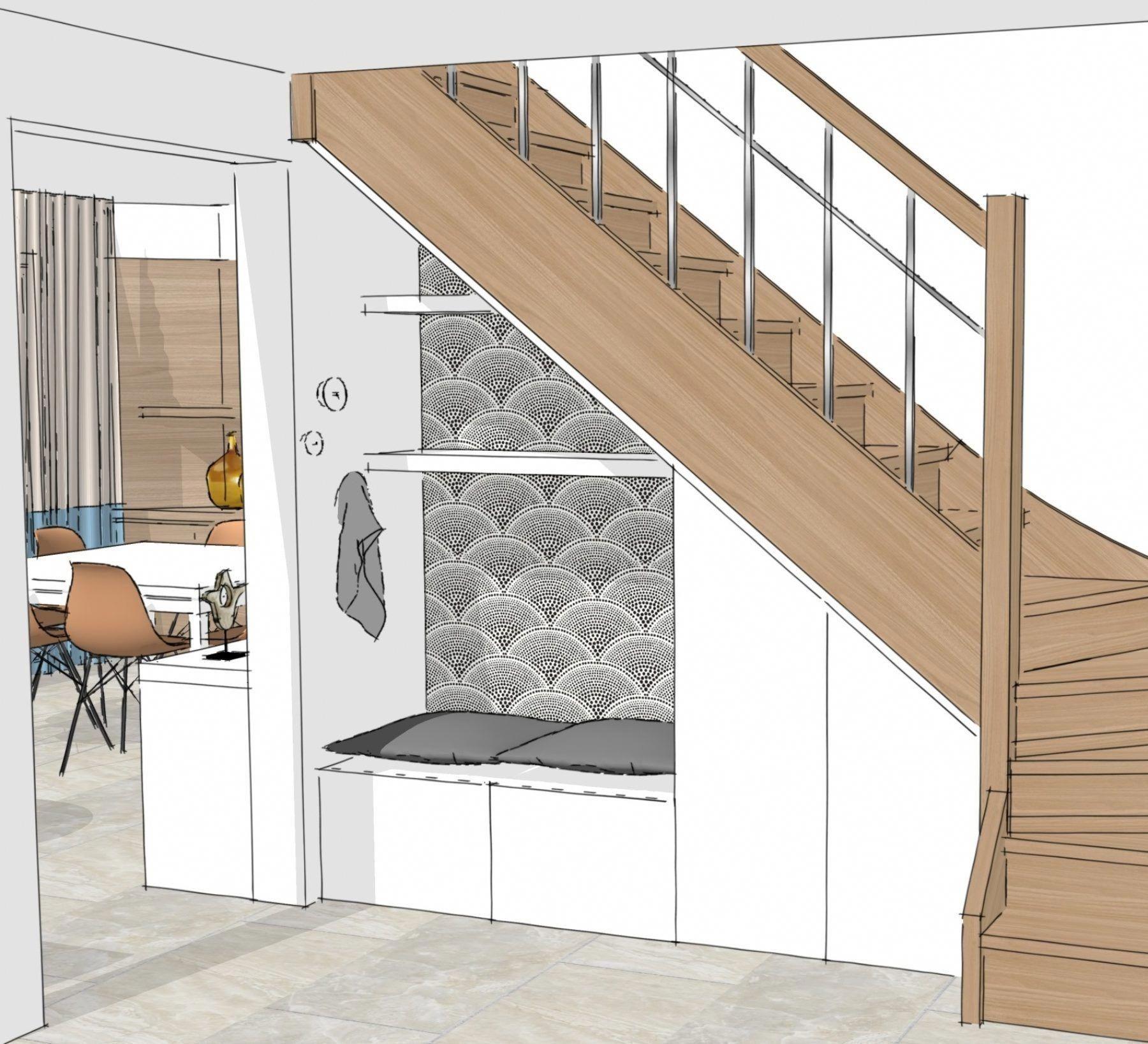 HI. perspective rangement & banquette sous escalier #RestaurantDécoration in 2019 | Under stairs ...